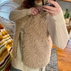 Vest   Hooded Furry Pom Pom Open Front